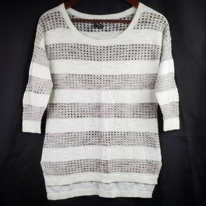 Express Gray White Striped Open Knit Sweater
